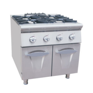 Restaurant 4 Burners Gas Cooking Range With Cabinet