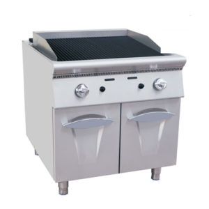 Restaurant Gas Lava Rock Grill With Cabinet