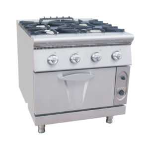 Commercial Four Burners Gas Range With Gas Oven
