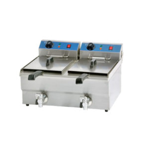 Double Tanks Electric Fryer with Tap 10+10Liters