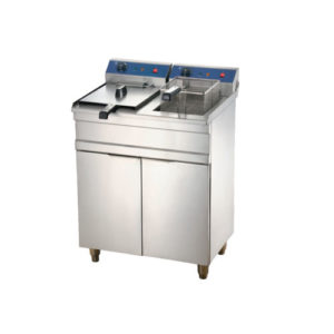 Double Tanks Electric Fryer with Cabinet 16+16Liters